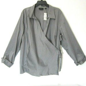 AVENUE Wrap Top Blouse 26 28 Solid Gray NEW